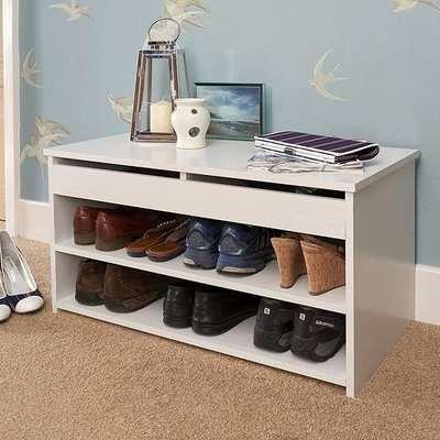 Inova Contemporary Wooden Shoe Bench In White