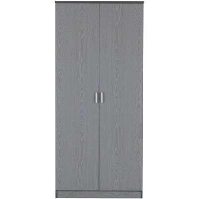 Intana Wooden Wardrobe In Grey With 2 Doors