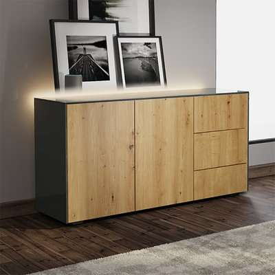 Intel LED Sideboard In Grey And Walnut With Wireless Charging