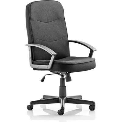 Janelle Fabric Office Chair In Black With Padded Seat