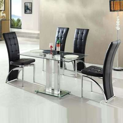 Jet Small Clear Glass Dining Table With 4 Ravenna Black Chairs