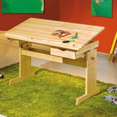Julia Wooden Adjustable Laptop Desk In Natural Oak
