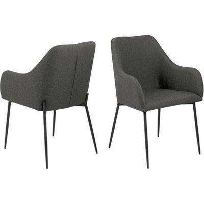 Junoka Grey Fabric Dining Chairs With Armrest In Pair