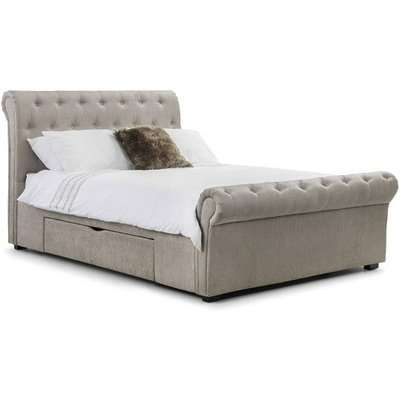 Kenton Chenille Fabric King Size Bed In Mink With 2 Drawers