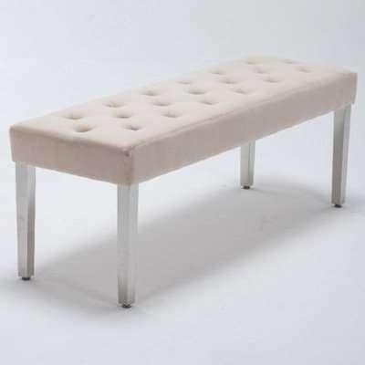 Kepro Velvet Upholstered Dining Bench In Cream