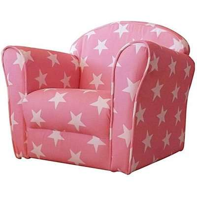 Kids Mini Fabric Armchair In Pink With White Stars