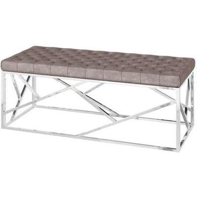 Kieta Velvet Fabric Upholstered Dining Bench In Mink