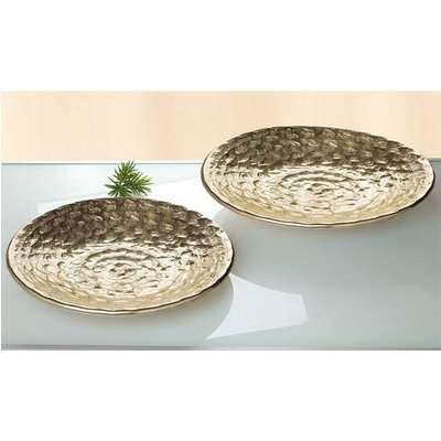 La Perla Ceramic Set Of 2 Round Decorative Bowl In Antique Gold