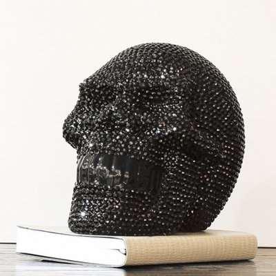 Large Ornament Studded Black Skull