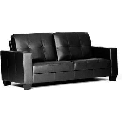 Lena Leather And PVC Bonded 1 Seater Sofa In Black