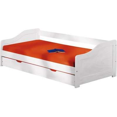 Leonie Day Bed With Pull Out UnderBed In Solid Wood White Finish