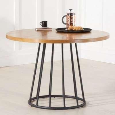 Lesath Wooden Dining Table In Ash Veneer With Metal Base