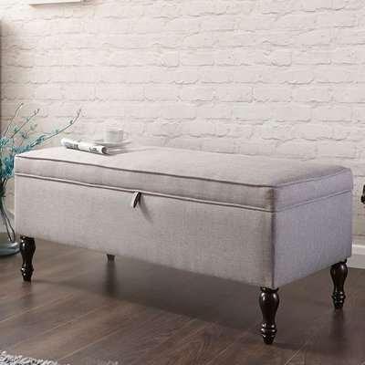 Lieberman Cushioned Ottoman Blanket Box In Grey