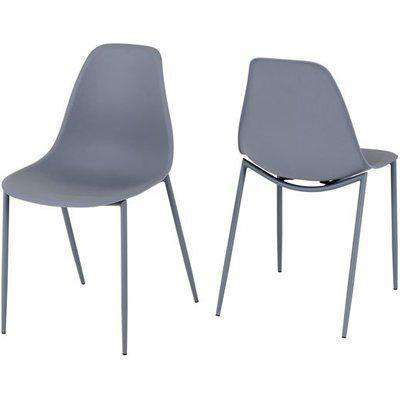 Lindon Grey Plastic Dining Chairs With Metal Legs In Pair
