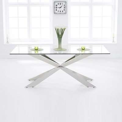 Lindos Glass Dining Table In Clear With Stainless Steel Base