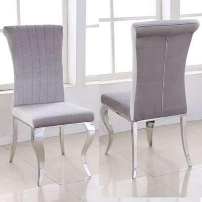 Liyam Grey Soft Velvet Upholstered Dining Chairs In Pair