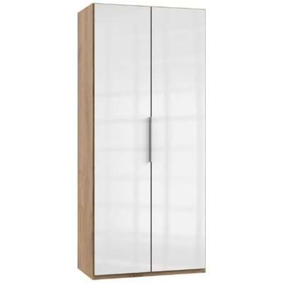 Lloyd Wooden Wardrobe In Gloss White And Planked Oak 2 Doors
