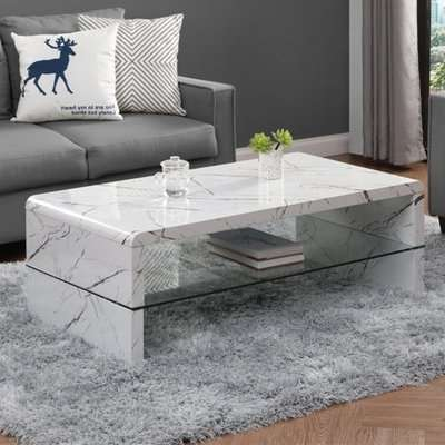 Momo High Gloss Coffee Table In Milano Marble Effect