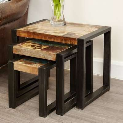 London Urban Chic Wooden Medium Dining Table With Steel Base