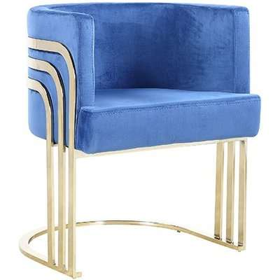Lula Blue Velvet Dining Chair With Gold Stainless Steel Legs