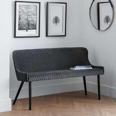 Luxe High Back Velvet Upholstered Dining Bench In Grey
