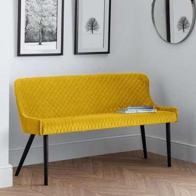 Luxe High Back Velvet Upholstered Dining Bench In Mustard