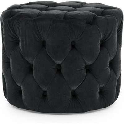 Macrus Fabric Footstool In Blue Velvet Midnight