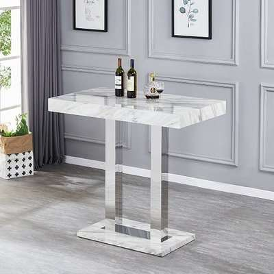 Caprice High Gloss Bar Table In Magnesia Marble Effect