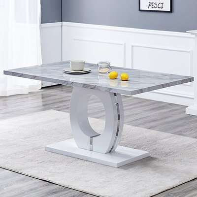 Halo Rectangular Grey Gloss Magnesia Marble Effect Dining Table