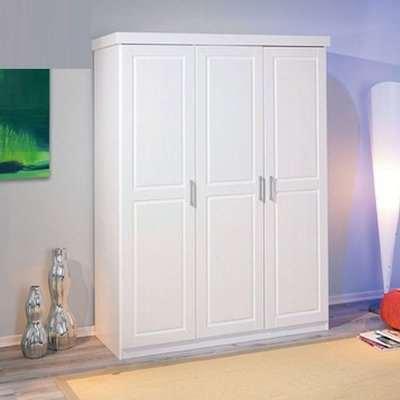 Magnus Pine Wooden Wardrobe In White With 3 Doors