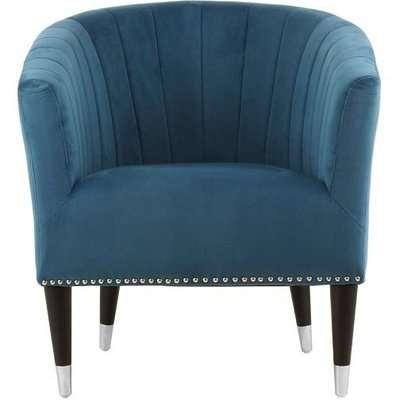 Homam Tub Style Velvet Upholstered Armchair In Blue Finish