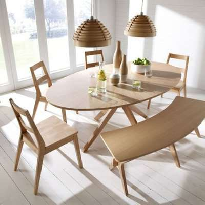 Malun Contemporary White Oak Finish Oval Shape Dining Table Only