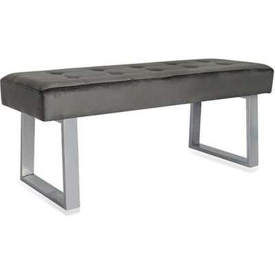 Manhatten Dark Grey Velvet Dining Bench With Silver Metal Legs