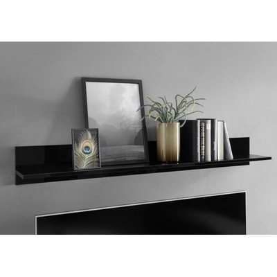Manvos Wooden Wall Shelf In Black High Gloss Marble Effect