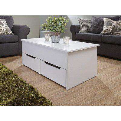 Marcello Storage Coffee Table In White With Lift Up Top