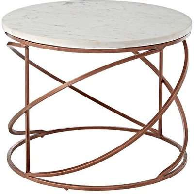 Maren Marble Top Coffee Table In White With Copper Legs