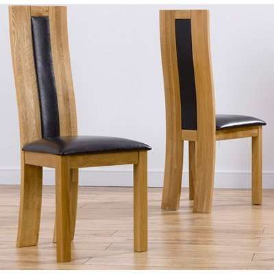 Marila Dining Chair In Brown PU With Solid Oak Frame In A Pair