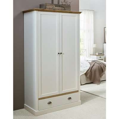 Marina Wooden Wardrobe In White Pine With 2 Doors