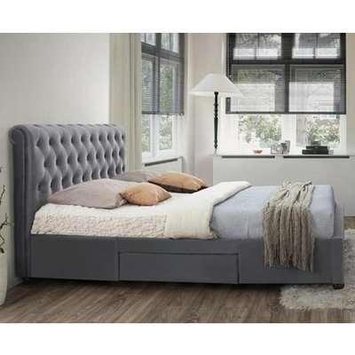 Marlow Fabric Storage Super King Bed In Grey Velvet
