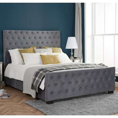 Marquis Fabric Super King Bed In Grey Velvet