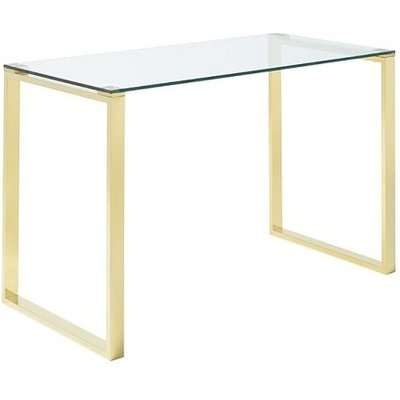 Megan Clear Glass Computer Desk With Gold Legs