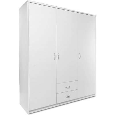 Meissen Wooden Wardrobe In White With 3 Doors And 2 Drawers