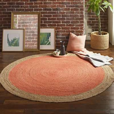 Melina Small Round Soft Jute Rug With Blood Orange Centre