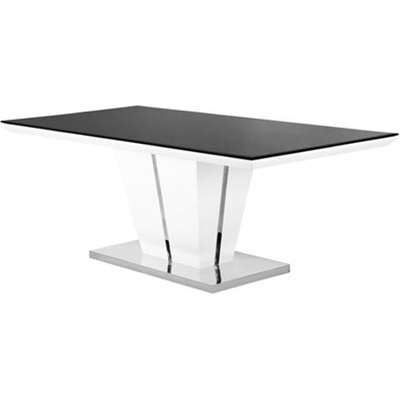 Memphis Glass Dining Table In High Gloss With Chrome Base