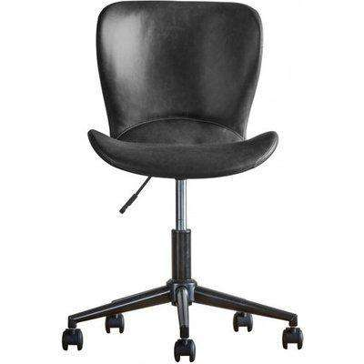 Mendel Faux Leather Swivel Office Chair In Charcoal