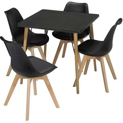 Mercer Wooden Bistro Dining Table In Black Faux Concrete