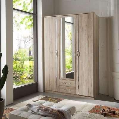 Milden Mirror Wardrobe In Sanremo Oak With 3 Doors And 2 Drawers