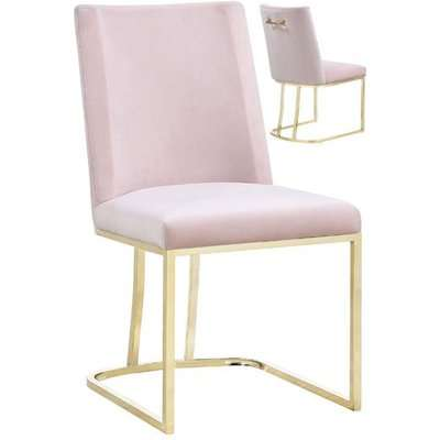 Milo Rose Velvet Dining Chairs In A Pair With Gold Steel Base
