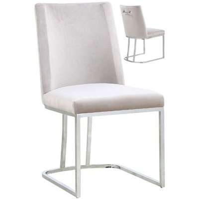 Milo Brown Velvet Dining Chairs In A Pair With Silver Steel Base