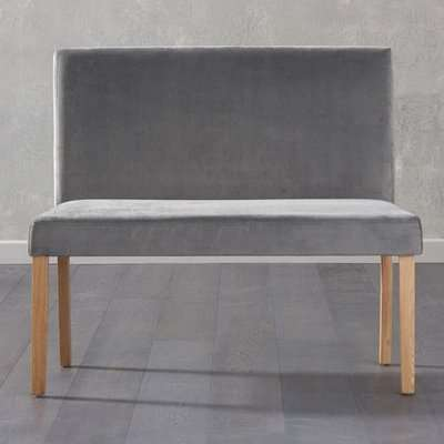 Miram Small Plush Grey Sof Fabric Dining Bench With Back